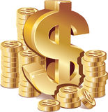 Piles de pièces d'or avec le signe du dollar