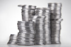 Piles de pièces de monnaie Photos libres de droits