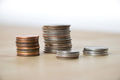 Piles de pièces de monnaie américaines photos stock