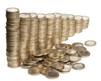 Piles de pièces de monnaie de 1 euro Photos stock