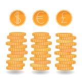 Piles de pièces de monnaie, dollar, euro, pièces de monnaie de livre, différentes devises, pièces de monnaie d'or, rouleau d'arge Illustration Libre de Droits
