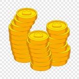 Piles de pi?ces de monnaie avec l'ic?ne de couronne, style de bande dessin?e illustration de vecteur
