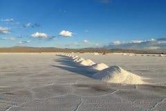Piles de sel sur Salar images libres de droits