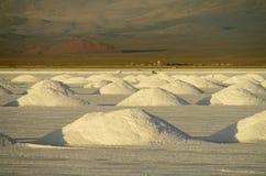 Piles de sel sur Salar au coucher du soleil photos stock
