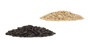 Piles des graines de tournesol d'isolement Photos libres de droits
