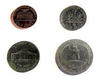 Piles des pièces de monnaie des Etats-Unis Images libres de droits