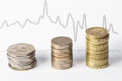 Piles des pièces de monnaie et du graphique Photos libres de droits