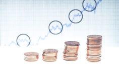 Piles des pièces de monnaie et du graphique financier courant Image stock