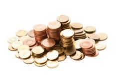 Piles des pièces de monnaie roumaines Photos stock