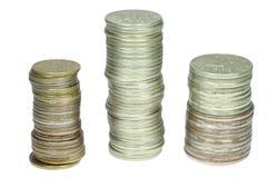 Piles des pièces de monnaie russes Photo stock