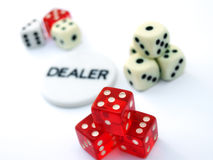 Piles of Dice and Dealer Chip Stock Images