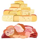 Piles of different realistic delicacy cheeses and appetizing meat on white. Piles of different realistic delicacy cheeses and appetizing meat on white vector illustration