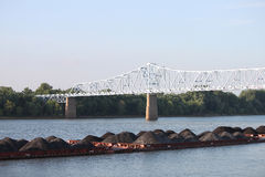 Piles of dirt on river in Owensboro stock image