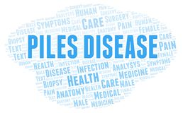 Piles Disease word cloud. Wordcloud made with text only stock illustration