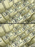 Piles of 100 Dollar bills - with and without DOF Effect Royalty Free Stock Photography