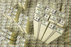 Piles of Dollar bills Stock Image