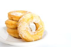 Piles of donuts with sugar Stock Photo
