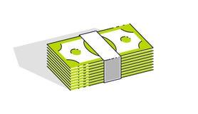 Piles du dollar d'argent d'argent liquide d'isolement sur le fond blanc Vecteur 3D Illustration Libre de Droits