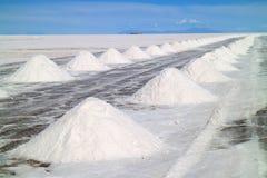 Piles du sel de séchage sur les appartements de sel d'Uyuni ou le Salar de Uyuni, Potosi, Bolivie images libres de droits