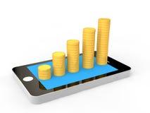 piles du téléphone portable 3D et des pièces de monnaie illustration stock