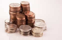 Piles of english coins Royalty Free Stock Images