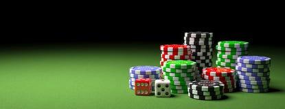 Piles et matrices de jetons de poker sur le feutre vert, bannière, l'espace de copie illustration 3D illustration stock