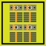 Piles et paquets attachés des différents billets de banque illustration libre de droits