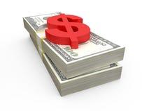 Piles et symbole dollar du dollar Photo libre de droits