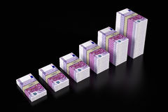 Piles of 500 Euro banknotes. Piles of Euro bills isolated on black glossy background royalty free illustration