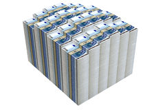 Piles of 20 Euro banknotes. Isolated on white background Royalty Free Stock Images