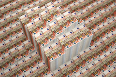 Piles of 50 Euro banknotes. Rendered with Blender 3D vector illustration