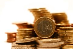 Piles of Euro Coins Stock Photo