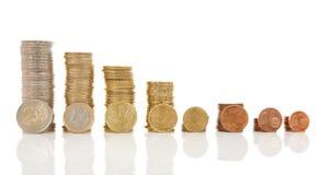 Piles of Euro money coins royalty free stock photo
