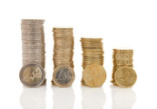 Piles of Euro money coins Stock Photos
