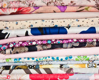 Piles of fabric Stock Photos