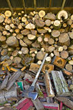 Piles of Firewood with Axe Royalty Free Stock Images