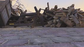 Piles of firewood in yard. In summer day stock video