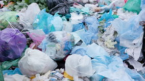 Piles of Garbage Bags in the City stock video