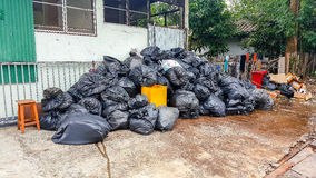 Piles of garbage bags Stock Photo