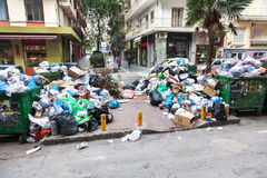 Piles of garbage in the center of Thessaloniki - Greece Stock Images