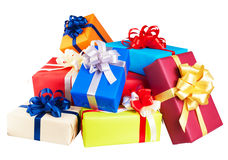Piles of gift boxes wrapped in colorful Royalty Free Stock Photo