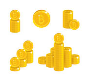 Piles gold bitcoins isolated cartoon set royalty free illustration