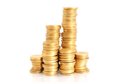 Piles of gold coins Royalty Free Stock Photos