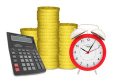 Piles of gold coins with alarm clock Royalty Free Stock Photography