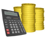 Piles of gold coins with calculator Royalty Free Stock Photo