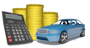 Piles of gold coins with car and calculator Stock Photo