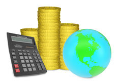 Piles of gold coins with Earth and calculator Stock Images