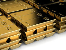 Piles of goldbars Stock Photos