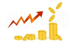 Piles of golden coins and falling coins with dollar sign showing profits isolated on white background. Business Graph with arrow and coins showing profits and Stock Images