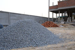 Piles gravel. In construction site Royalty Free Stock Images